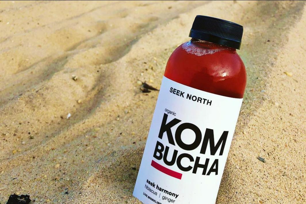 Organic Kombucha: 16oz Bottle Hibiscus Ginger