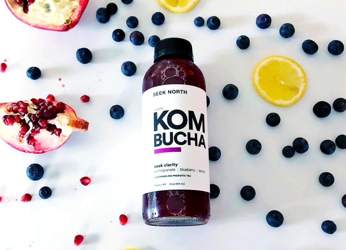 Organic Kombucha: 16oz Bottle Pomegranate, Blueberry, Lemon